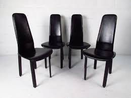 mid century modern set of italian leather high back dining chairs by cidue for