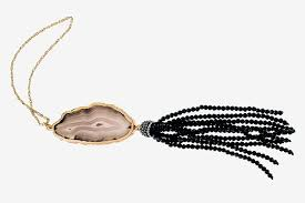 black agate and tassel pendant necklace 88