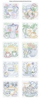 kitchen towel embroidery designs. line art tea pots embroidery machine design details - love the patterns for kitchen towels. towel designs r