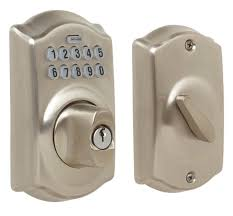 keypad front door lockSchlage Satin Nickel Camelot Keypad Deadbolt  Jetcom