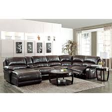 coaster company brown leather reclining chaise sectional with cup holders on free today 12189286