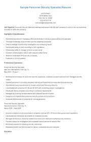 Personnel Security Specialist Sample Resume Sample Personnel Security Specialist Resume Resame Pinterest 14