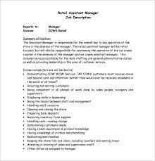 assistant manager job description template –   free word  pdf    retail assistant manager job description free pdf template