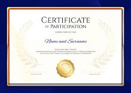 Certificate Template In Sport Theme With Blue Border Frame