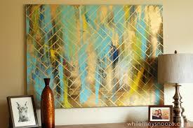 DIY artwork - metallic herringbone artwork from While They Snooze
