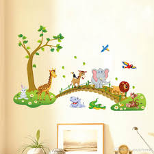 kids babies boys girls room wall decor poster cartoon animals lined up to walk across the bridge wall decals forest animals sticker wall decal sticker wall  on baby room wall decor stickers with kids babies boys girls room wall decor poster cartoon animals lined