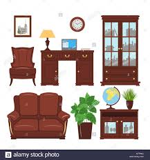 classic home office furniture. Set Of Classic Home Office Furniture Elements For Cabinet, Library, Parlour. Working Place With Bookcase, Armchair, Sofa, P