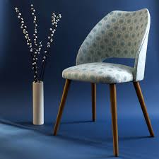 Vintage mid century cocktail chair upholstered in Benedict Blue