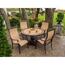 hanover patio furniture. Hanover Outdoor Furniture 5 Piece Monaco High Back Sling Chair Dining Set With Umbrella Tan/ Patio O