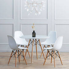 white gray solid wood office. White Eiffel Style Dining Table And 4 Chairs Solid Wood Legs Home Office Set Gray