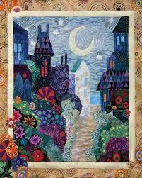 Moonlit City Garden Art Quilt by Karen Gillis Taylor | Garden art ... & Moonlit City Garden Art Quilt by Karen Gillis Taylor Adamdwight.com