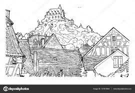Kleurplaat Boekillustratie Van Oude Dorp Stockvector Suricoma