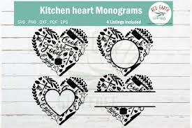 Download free svg cut files for cricut & silhouette cameo machines. Kitchen Heart Monogram Frame Bundle Graphic By Redearth And Gumtrees Creative Fabrica