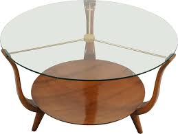 small round italian coffee table in walnut brass and a glass top 1950s previous next