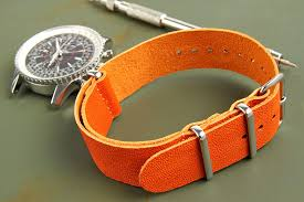 leather nato 22mm orange
