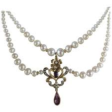 graduated pearl necklace vintage gold pendant with amethyst and 14k gold clasp for at 1stdibs
