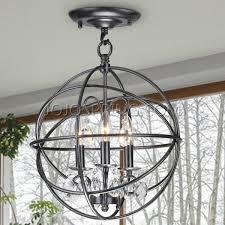 benita 3 light antique black metal globe crystal flush mount chandelier iron flush mount ceiling light