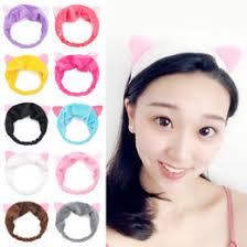 women las cat ears headband cute yoga makeup elastic turban knotted hair band headband pink yellow white black