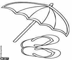 Kleurplaat Slippers En Paraplu Op Het Strand Kleurplaten