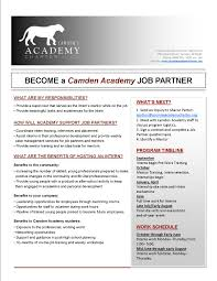 job shadowing internship programs camden s charter network job partner flyer