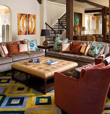 Living Room Ottomans 2 Ottomans As Coffee Tables Living Room Contemporary With Black
