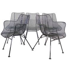 Six Wrought Iron with Mesh Dining Chairs by Russell Woodard For