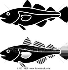 ベクトル 黒 タラの魚 シルエット クリップアート