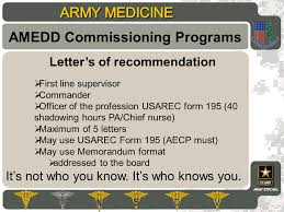 letter of recommendation army form amedd commissioning programs ppt download
