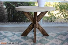 diy x brace side table w concrete top free easy plans with regard to end design 16