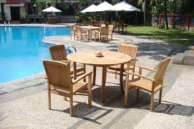 5 pc grade a teak wood dining set 48 round table and 4