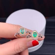 2019 <b>Shilovem 925 Sterling Silver</b> Natural Emerald Ring Fine ...
