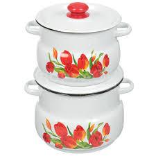 <b>Набор эмалированной посуды Сибирские</b> товары Тюльпаны 10 ...