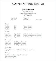 Beginner Resume New Acting Resume Examples For Beginners Beginner Actor Resume Samples