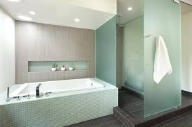blue accent tile bathroom frosted glass tile bathroom modern with accent tile dark gray doors between blue accent tile bathroom