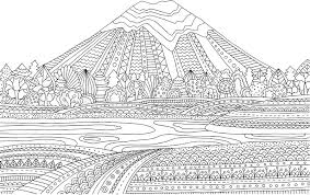 printable coloring page for s with mountain landscape lake flower meadow forest trees hand drawn vector ilration freehand sketch for