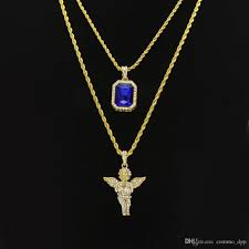 whole mens hip hop jewelry sets mini square ruby sapphire full crystal diamond angel wings pendant gold chain necklaces for male hiphop jewelry white