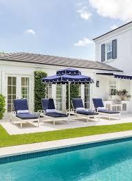 navy blue outdoor umbrella over white