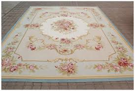 aubusson rug 9x12 pastel blue pink ivory