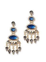 goldtone faux sapphire chandelier drop earring new york company