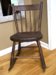 details about antique child wood rocking chair windsor style