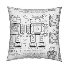Robots 3 Color Cut And Sew Fabric Grammak Spoonflower
