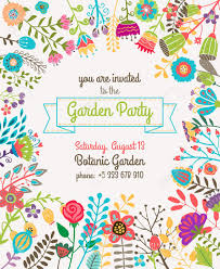 庭または夏パーティー招待状のテンプレートやポスター自然花セット