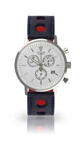 detomaso milano mens watch chronograph steel white dial blue leather strap new