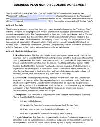 Nda Template For Startup Free Business Plan Non Disclosure Agreement Nda Pdf