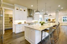 kitchen with pendant lights above the island