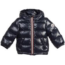 Baby Boys Navy Blue Down Padded  Aubert  Jacket, Moncler, Boy Only Child