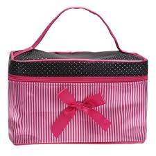 cosmetic bag make up bags travel makeup bag square bow striped beauty case best gift s zipper storage in cosmetic bags cases from luge bags on
