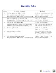 Divisibility Rules Chart Pdf Division Worksheets Printable Division Worksheets For Teachers