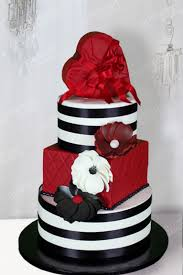 Birthday Cake Black Stripes And Red Heart