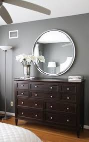 gray walls dark brown furniture bedroom paint color amherst grey benjamin moore did it behr creek bend for the walls with an accent wall in swiss brown furniture wall color
